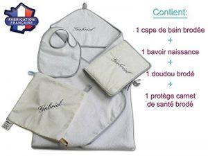 Modulit - Coffret naissance personnalisé 4 pièces! Cape de bain + Bavoir + Protège carnet de santé + Doudou (Gris) de la marque MODULIT image 0 produit