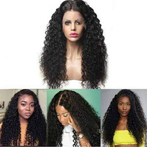 Momola Perruque Bouclée Bresilienne Avec Des Cheveux De Bébé Lace Frontale Wig Deep Wave Perruque Cheveux Noir Naturel 24 pouce de la marque Momola_ beauté image 0 produit