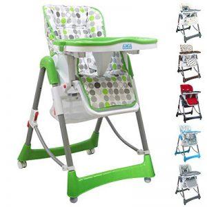 Monsieur Bébé ® Chaise haute enfant pliable, réglable hauteur, dossier et tablette - 6 coloris - Norme NF EN14988 de la marque Monsieur-Bébé image 0 produit