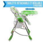 Monsieur Bébé ® Chaise haute enfant pliable, réglable hauteur, dossier et tablette - 6 coloris - Norme NF EN14988 de la marque Monsieur-Bébé image 4 produit
