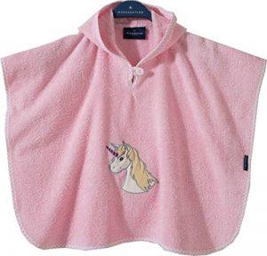 Morgenstern, grande éponge–– Poncho de bain en 100% coton, couleur rose, motif Licorne, Taille One Size (env. 1à 3ans), Unicorn de la marque Morgenstern image 0 produit