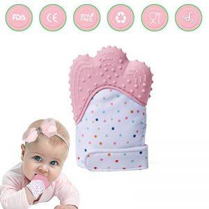 Moufles Gant de dentition bebe,Baby Mitten apaisante Pain Relief Silicone mitaine de dentition sangle réglable Âge 3–12 mois (pink) de la marque GOAMZ image 0 produit
