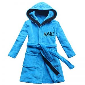 [Nom brodé] Robe de bain pour enfants bleu velours de corail Chemise de nuit garçon chaud de la marque FEETOO image 0 produit