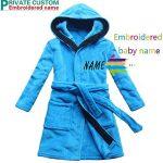[Nom brodé] Robe de bain pour enfants bleu velours de corail Chemise de nuit garçon chaud de la marque FEETOO image 4 produit