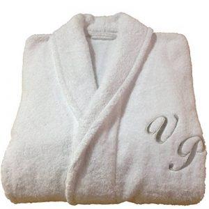 Nom personnalisé (avant) col châle Coton éponge Blanc Peignoir de bain, 100 % coton, blanc, Taille M de la marque BgEurope image 0 produit
