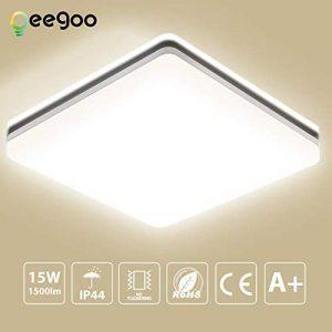 Oeegoo 15W imperméable à l'eau LED Plafonnier moderne carré LED Lampe de plafond 1300lm Blanc Naturel 4000K Applicable à la salle de bain la chambre la cuisine le salon le balcon et le couloir. de la marque Oeegoo image 0 produit