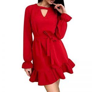 OHQ Femme Fille Madame Robe Manches Longues Volants De La Dentelle Pas Cher Jolie Ronde Coton Princesse pour Fille Chic Rouge+Pourpre+Noir+S+M+L+XL de la marque OHQ image 0 produit