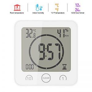ONEVER Horloge de Salle de Bain Température D'humidité Numérique Horloge Numérique Horloge Horloge Affichage LCD Écran Tactile Contrôle Minuterie Alarme Pour Cuisine Salle de Bain (Blanc) de la marque ONEVER image 0 produit