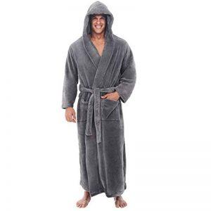 OSYARD Homme Peignoir de Bain, Robe de Chambre Kimono Tissage Vêtements avec Capuche Poches de Nuit Col V Pyajama S-5XL de la marque OSYARD image 0 produit
