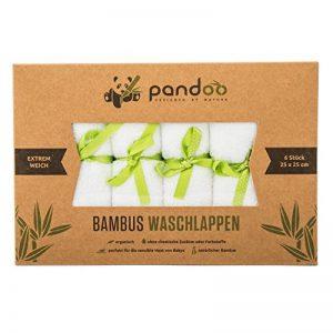 pandoo wash 100% gant de toilette en bambou pour bébé - câlin doux, sans colorant, hypoallergénique et antibactérien pour la peau sensible de bébé - 25x25cm blanc - 6 morceaux de la marque pandoo image 0 produit