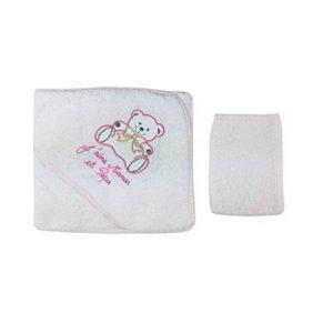 Parure de bain pour bébé blanc et rose à pois - Ours j'aime maman papa de la marque Fruit-de-ma-passion image 0 produit