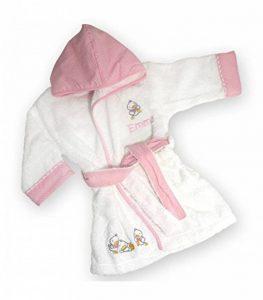 Peignoir bébé canards personnalisé avec le prénom de bébé (1an, rose), sortie de bain à offrir pour une naissance, un anniversaire, un bapteme... de la marque Vanevitch image 0 produit