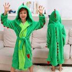 Peignoir à capuche en peluche pour fille - Dinosaur Polaire Robe de bain peignoir de la marque DREAMOWL image 1 produit