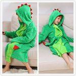 Peignoir à capuche en peluche pour fille - Dinosaur Polaire Robe de bain peignoir de la marque DREAMOWL image 2 produit