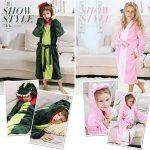 Peignoir à capuche en peluche pour fille - Dinosaur Polaire Robe de bain peignoir de la marque DREAMOWL image 3 produit