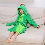Peignoir à capuche en peluche pour fille - Dinosaur Polaire Robe de bain peignoir de la marque DREAMOWL image 4 produit