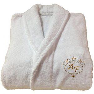 Peignoir de bain d'hôtel à broderie personnalisable,réf. Deluxe, 100 % coton, blanc, L de la marque BgEurope image 0 produit