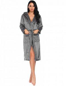 Peignoir de Bain Femme Robe de Chambre en Polaire Flanelle Capuchon Col V Manches Longues S-XXL de la marque MAXMODA image 0 produit