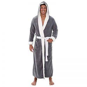 Peignoir de Bain Homme Coton, Vêtements de Nuit avec Capuche Hiver Robe de Chambre Kimono Tissage Col V Long Pyajama S-5XL de la marque OSYARD image 0 produit