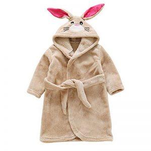 Peignoir de Bain pour Enfant Bébé Garçon/Fille à Capuche, Hiver Mignon Animal Doux Chaud Polaire Robe de Chambre/Pyjamas 1-7 Ans de la marque Miyanuby image 0 produit