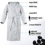 Peignoir de Bain pour Homme 100% Coton avec Capuche - Taille XS S M L XL XXL - Certifié Oeko TEX - Robe de Chambre 2 Poches, Ceinture et Boucle d'Accroche - Doux, Absorbant et Confort de la marque Twinzen image 1 produit