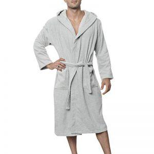 Peignoir de Bain pour Homme 100% Coton avec Capuche - Taille XS S M L XL XXL - Certifié Oeko TEX - Robe de Chambre 2 Poches, Ceinture et Boucle d'Accroche - Doux, Absorbant et Confort de la marque Twinzen image 0 produit