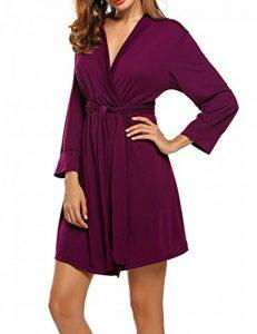 Peignoir de Bain Robe de Chambre Kimono Pyjama Manche 3/4 en Coton Femme S-XXL de la marque UNibelle image 0 produit