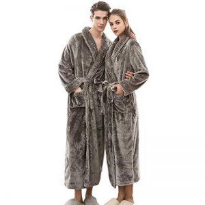 Peignoir De Luxe Robe Longue Section Femme Fluff ÉPaissir Solid Couleur Unie Pyjamas Deux Poches Ceinture Salle De Bain Bathrobe 5 Couleurs 3 Tailles de la marque Yvelands image 0 produit