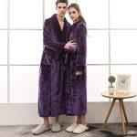 Peignoir De Luxe Robe Longue Section Femme Fluff ÉPaissir Solid Couleur Unie Pyjamas Deux Poches Ceinture Salle De Bain Bathrobe 5 Couleurs 3 Tailles de la marque Yvelands image 1 produit