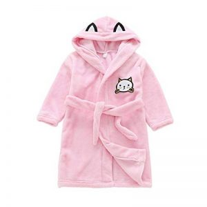 Peignoir Enfant Garçon/Fille Mignon Doux Chaud Toison Peignoir en Coton Capuche Pyjamas pour 3-8 Ans de la marque Miyanuby image 0 produit