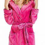 Peignoir Femme Bain Coton Eponge, Robe de Chambre pour Femme Vêtements de Nuit Coton Hiver avec Capuche Lacets Ensembles de Pyjama S-5XL de la marque OSYARD image 2 produit