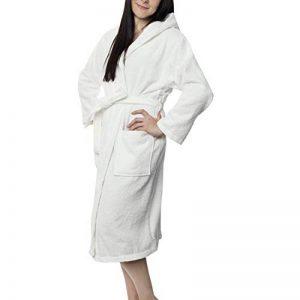 ⭐ Peignoir Femme Certifié sans Produits Chimiques, 100% Coton - Peignoir de Bain Eponge Coton avec Capuche, 2 Poches, Ceinture - Sortie de Bain Douce, Absorbante et Confortable de la marque Twinzen image 0 produit