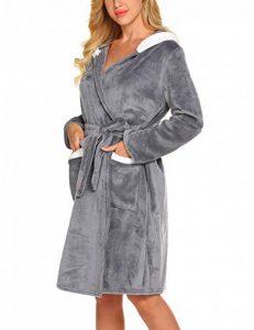 Peignoir Femme Imprimé en Polaire Robe de Chambre Velours Chaude Peignoir de Bain avec Capuche Flanelle Hiver S-XXL de la marque MAXMODA image 0 produit