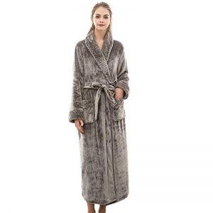 Peignoir Femme Velours Robe de Chambre Polaire Chaud Long Flanelle Peignoir de Bain Homme Eponge Hiver Longue Taille(M/XL/3XL) de la marque MCYS image 0 produit