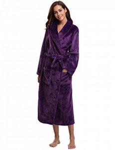 Peignoir Femme Velours Robe de Chambre Polaire Femme Chaud Long Flanelle Peignoir de Bain Homme Eponge Hiver Longue pour Le Cadeau de Noël de la marque Aibrou image 0 produit