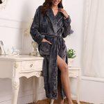 Peignoir Femme Velours Robe de Chambre Polaire Femme Chaud Long Flanelle Peignoir de Bain Homme Eponge Hiver Longue pour Le Cadeau de Noël de la marque Aibrou image 3 produit
