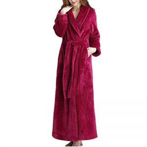 Peignoir Long en Velours pour Femmes, Microfibre (100% Polyester), Chemise de Nuit épaisse - 2 Poches, Ceinture - Peignoir Doux, Absorbant et Confortable de la marque DUJUN image 0 produit