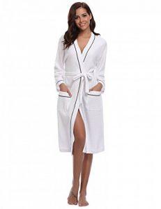 Peignoir Nid d'abeille Homme Robe de Chambre Coton Femme Kimono Tissage Gaufré Unisexe Waffle col V pour l'hôtel Spa Sauna Vêtements de Nuit de la marque Aibrou image 0 produit