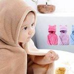 Peignoir personnalisé à capuche mignon pour bébé et enfants. Personnalisé Brodé. Super doux et peluche. Ultra absorbant et hypoallergénique. (rose rouge) de la marque Générique image 3 produit