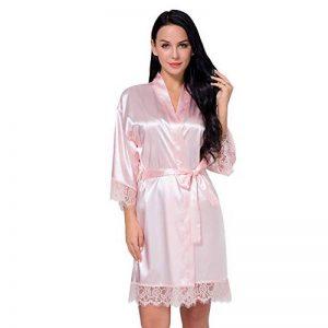 Peignoir Satin Robe de Chambre Kimono Femme Sortie de Bain Nuisette Déshabillé Vêtements de Nuit Femme Satin Lingerie Dentelle Peignoir Robes de Mariée de la marque SEMIR image 0 produit