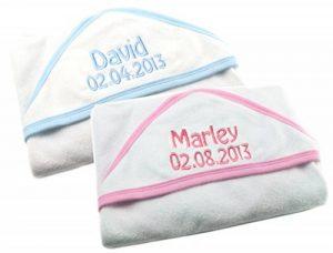 personnalisé pour bébé Serviette de bain à capuche Wrap, brodée New Baby Cadeau de baptême Bleu Rose Bordure 100% coton n'importe quel nom. de la marque Home Collection image 0 produit