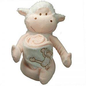 [PERSONNALISABLE] Doudou + Cape de bain bébé mouton personnalisée au prénom du bébé - [BRODERIE OFFERTE] dans toutes les langues de la marque Brodeway image 0 produit