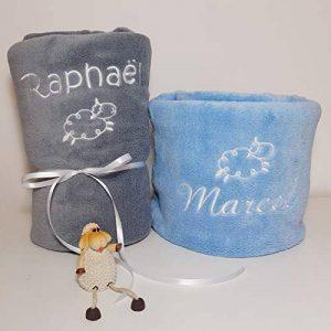 Plaid couverture personnalisée pour bébé, douce, BLANC, ROSE, CIEL ou GRIS, 105x75cm, cadeau de naissance, cadeau bébé, cadeau baptême, plaid poussette, plaid cosy de la marque N/D image 0 produit