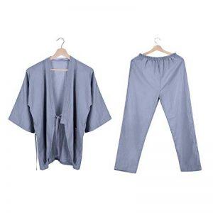 Pyjamas de Kimono Japonais Femmes Hommes Coton Ensemble de Pyjama Doux Respirant Peignoir de Bain Douche Grande Taille Chemise de Nuit à Manches Courtes Vêtement de Chambre Hôtel Sauna Spa Piscine de la marque LONTG image 0 produit