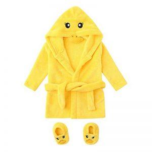 Pyjamas Enfant À Capuche Serviette de Bain, Dessin Animé Couleur Unie Dentelle Manches Longues Costume de Service à Domicile Sleepwear de la marque KUKICAT image 0 produit