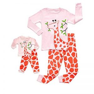 Pyjamas Enfant Service à Domicile Imprimé, Haut à Manches Longues et à Manches Longues, Motif Girafe, Image de Dessin Animé Sleepwear de la marque KUKICAT image 0 produit