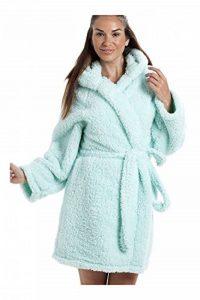 Robe de Chambre à Capuche - en Polaire très Douce - légère/de Luxe - Menthe de la marque Camille image 0 produit