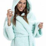 Robe de Chambre à Capuche - en Polaire très Douce - légère/de Luxe - Menthe de la marque Camille image 2 produit