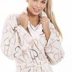 Robe de Chambre en Polaire Toucher Velours col châle Motif cœur - Gris/Rose de la marque Camille image 4 produit