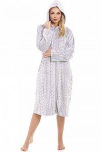 Robe de Chambre en Polaire très Douce Capuche/Fermeture Éclair Motif tressé - Gris de la marque Camille image 0 produit